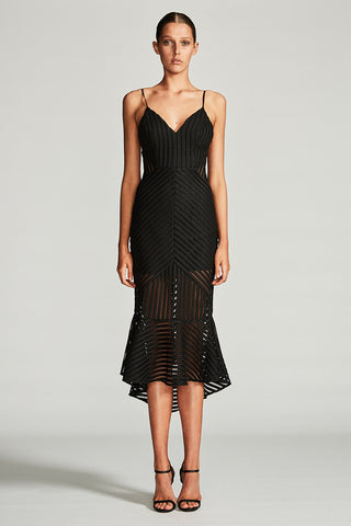 PEGASUS COCKTAIL MIDI DRESS - BLACK