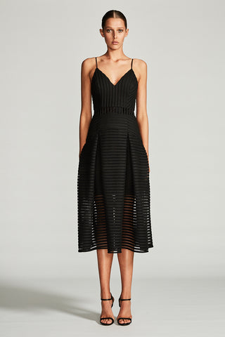 PEGASUS PLEATED COCKTAIL MIDI DRESS - BLACK