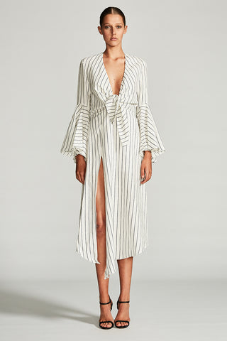 AQUARIUS TIE FRONT MIDI DRESS - IVORY