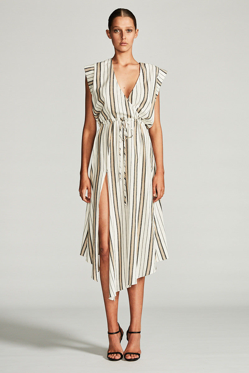VOYAGE DRAWSTRING MIDI DRESS