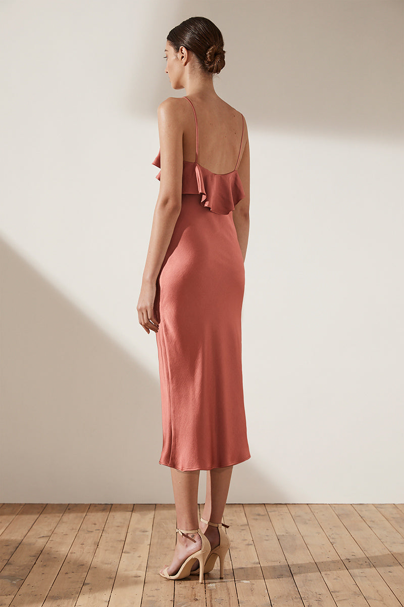 ADONIS RUFFLE BIAS MIDI DRESS - TERRACOTTA