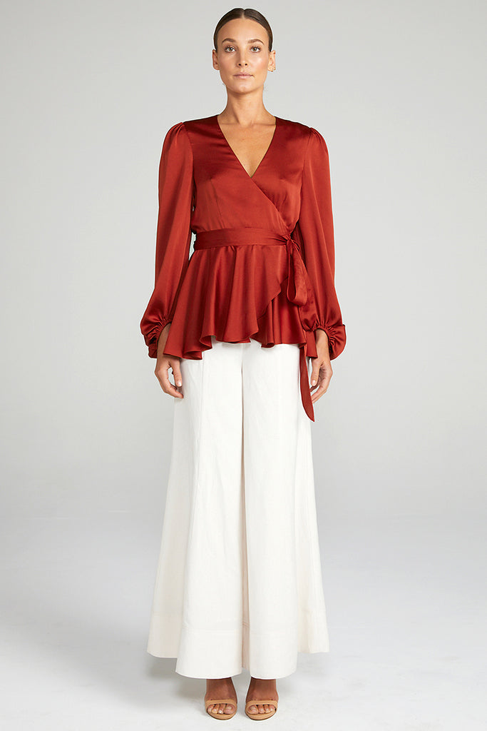 ANNA PUFF SLEEVE WRAP BLOUSE - BURNT RED
