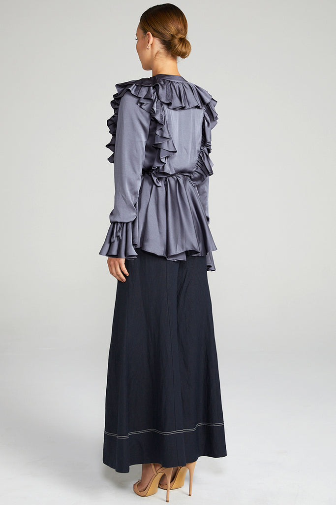 ANNA FRILL WRAP BLOUSE - CHARCOAL