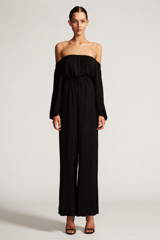 CORE OFF THE SHOULDER JUMPSUIT - BLACK
