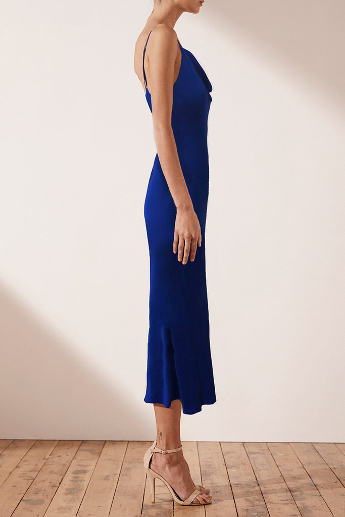 MIA BIAS COWL MIDI DRESS - COBALT