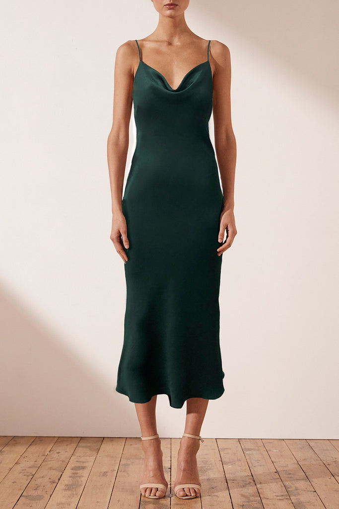 MIA BIAS COWL MIDI DRESS - BOTTLE