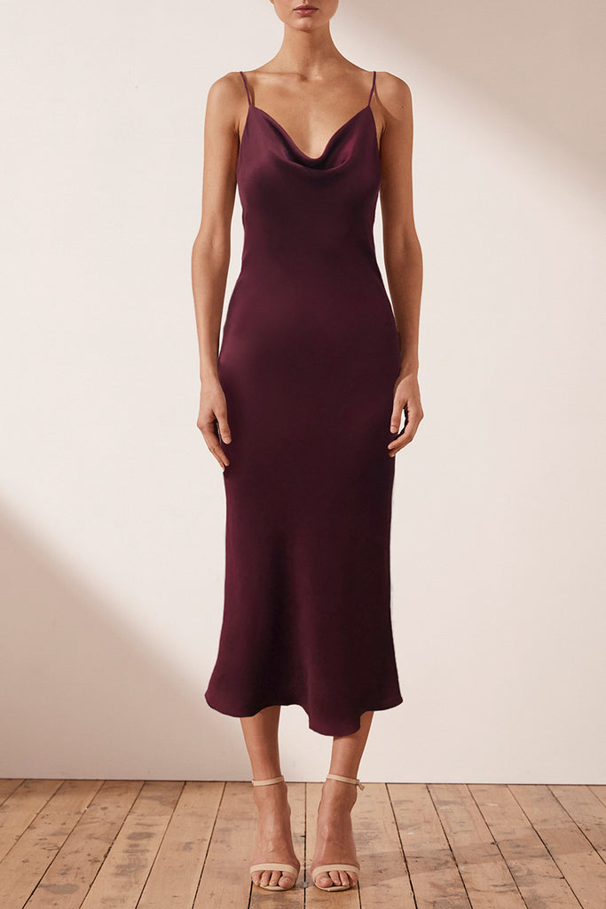 MIA BIAS COWL MIDI DRESS - BURGUNDY