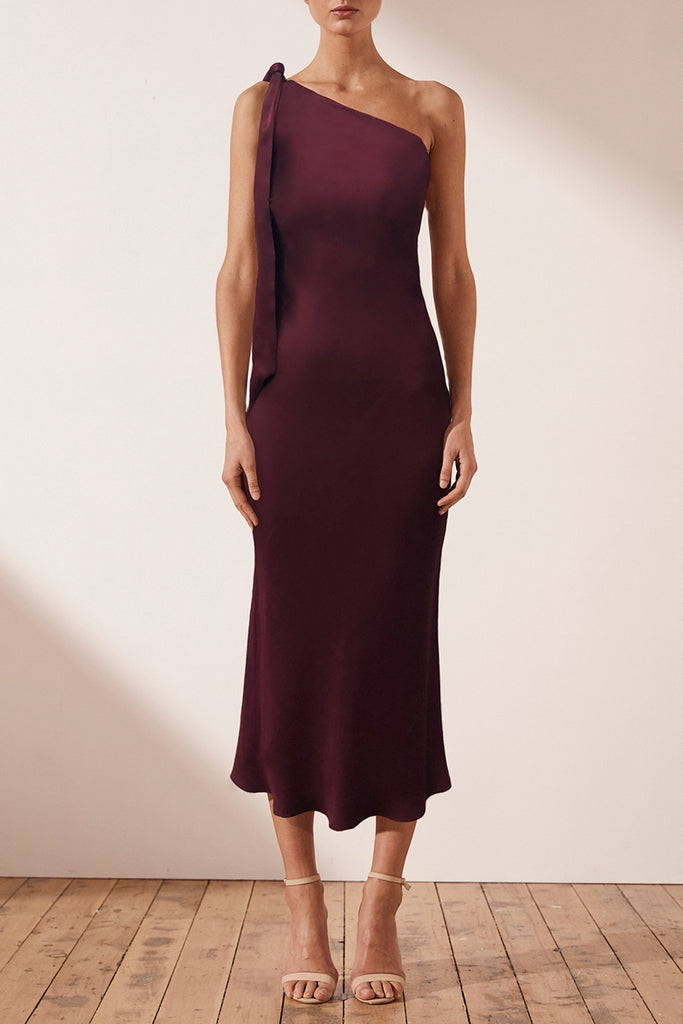 MIA ONE SHOULDER BIAS MIDI DRESS - BURGUNDY