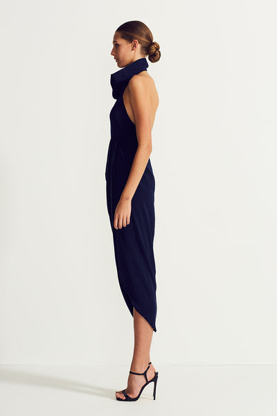 CORE FUNNEL NECK BACKLESS MAXI - NAVY
