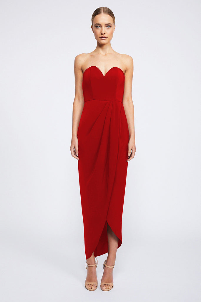 CORE 'U' BUSTIER DRAPED DRESS - TOMATO