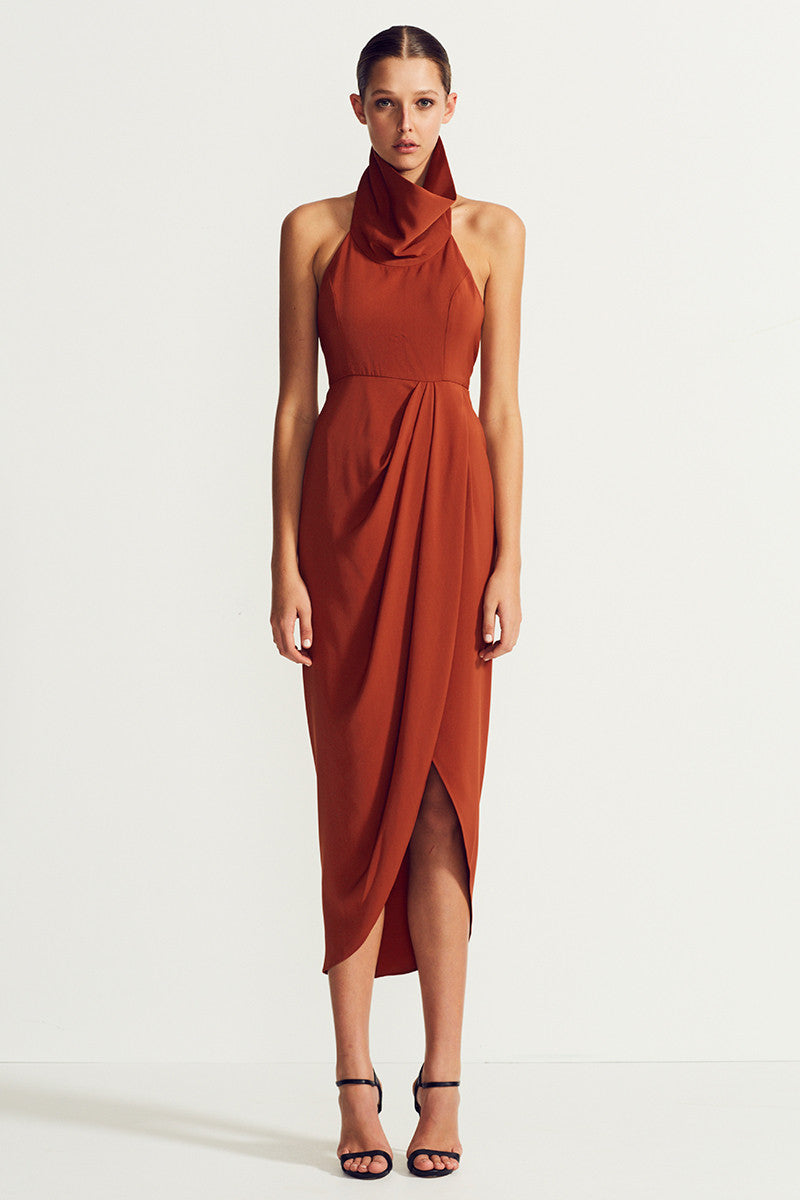 CORE FUNNEL NECK BACKLESS MAXI - RUST
