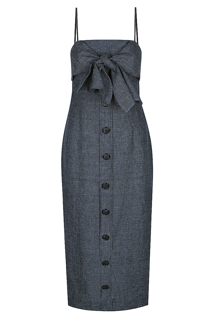CARDOZO LINEN TIE FRONT MIDI DRESS