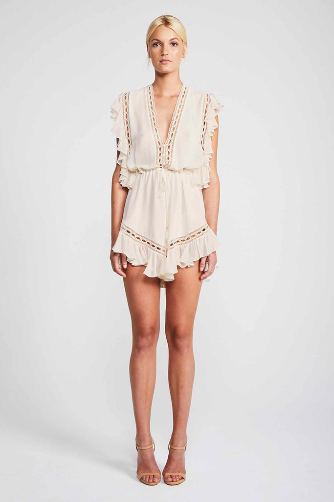 ECLIPSE DRAWSTRING PLAYSUIT - CREAM