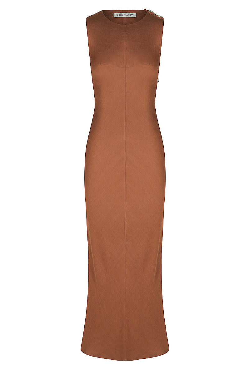 Shona Joy ELLINGTON LINEN BIAS MIDI DRESS - COGNAC
