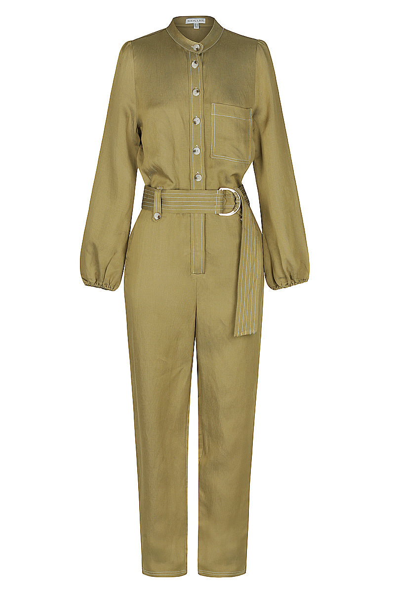 Shona Joy ELLINGTON LINEN RELAXED JUMPSUIT - OLIVE