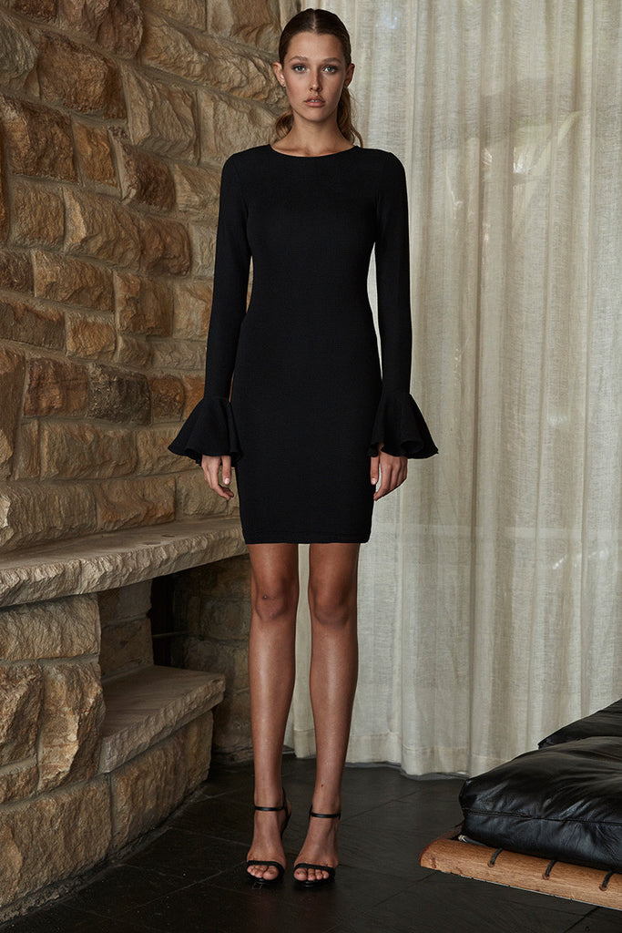 LORI FRILL CUFF TUNIC DRESS - BLACK