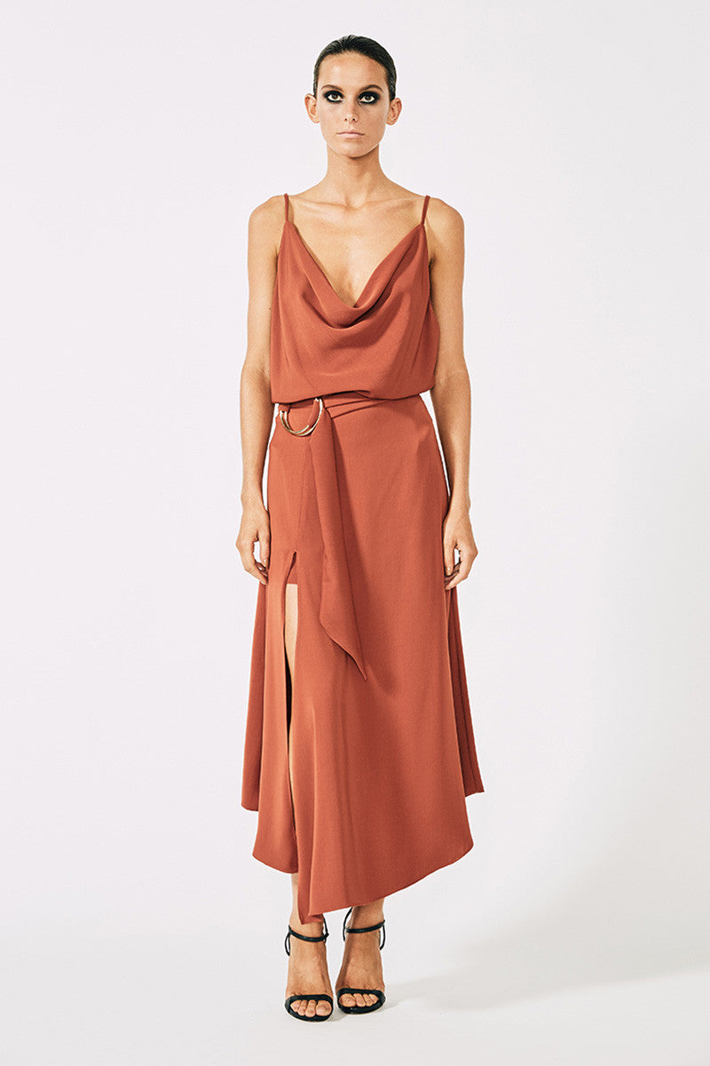 VOLTAIRE ASYMMETRIC SKIRT WITH RINGS - RUST