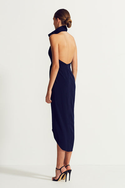 CORE FUNNEL NECK BACKLESS MAXI DRESS - NAVY