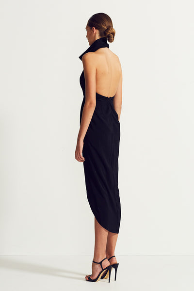 CORE FUNNEL NECK BACKLESS MAXI - BLACK