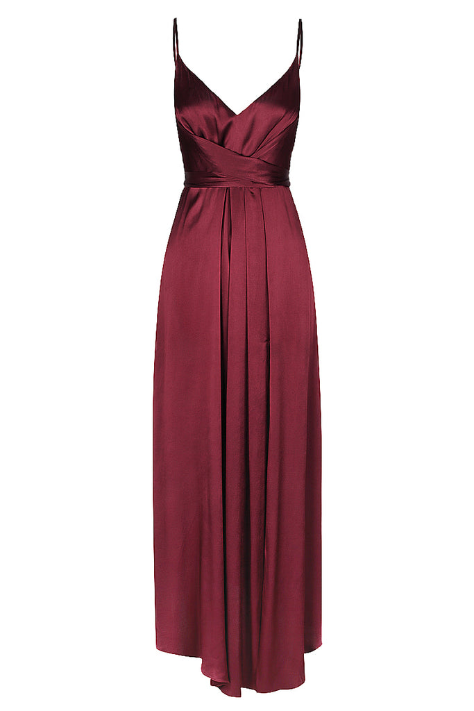 GISELE DRAPED MIDI DRESS - WINE