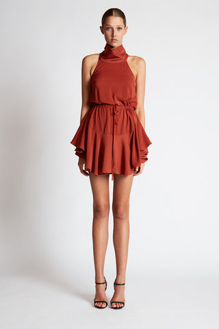 CORE HIGH NECK DRAWSTRING DRESS - RUST