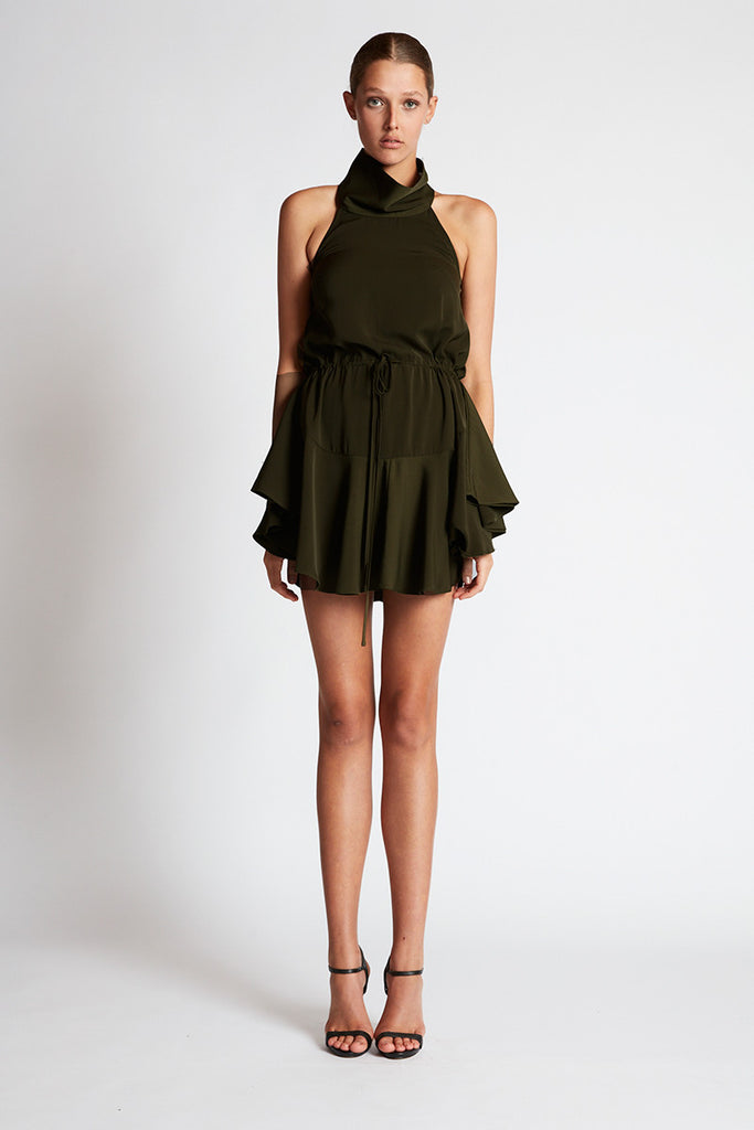 CORE HIGH NECK DRAWSTRING DRESS - DEEP OLIVE