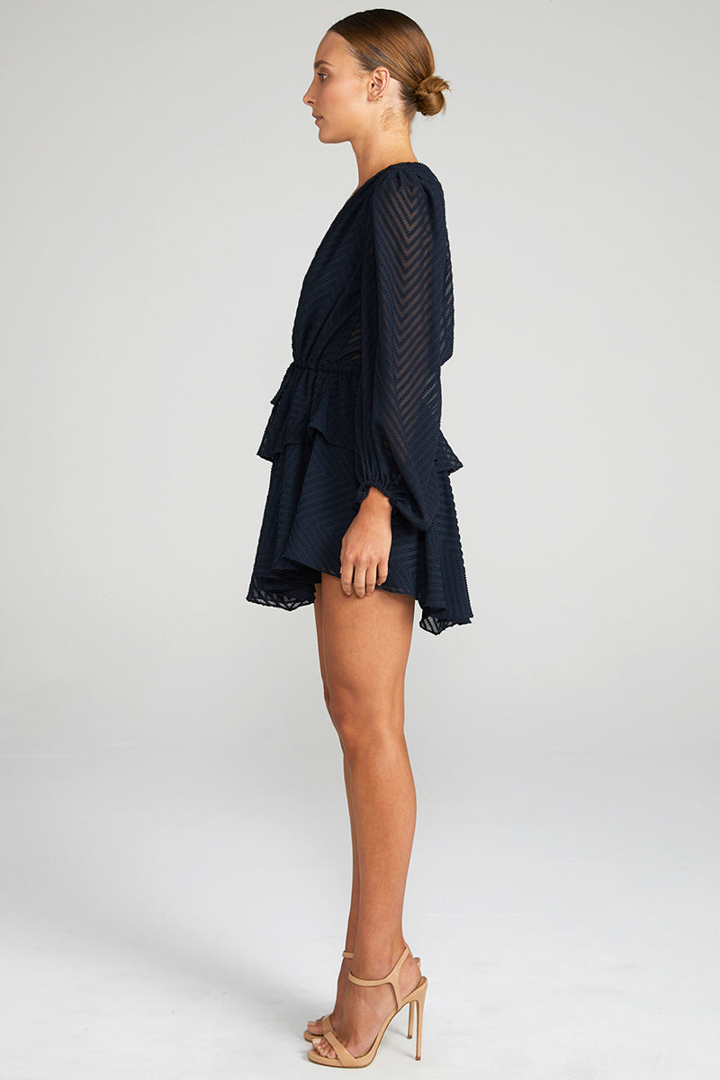 JEAN PUFF SLEEVE DRAWSTRING MINI DRESS - NAVY