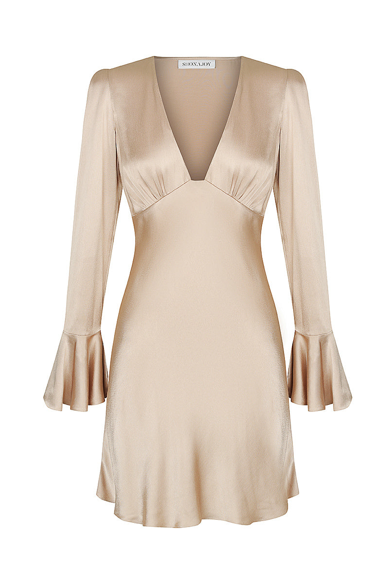 Shona Joy JOAN FRILL CUFF BIAS MINI DRESS - GOLD