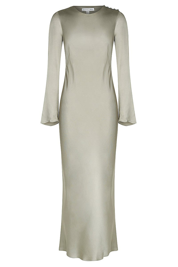 JOAN L/S BIAS MIDI DRESS - SAGE
