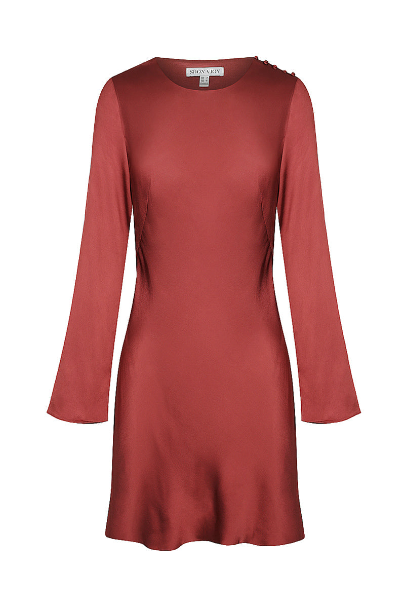 Shona Joy JOAN L/S BIAS MINI DRESS - RUBY