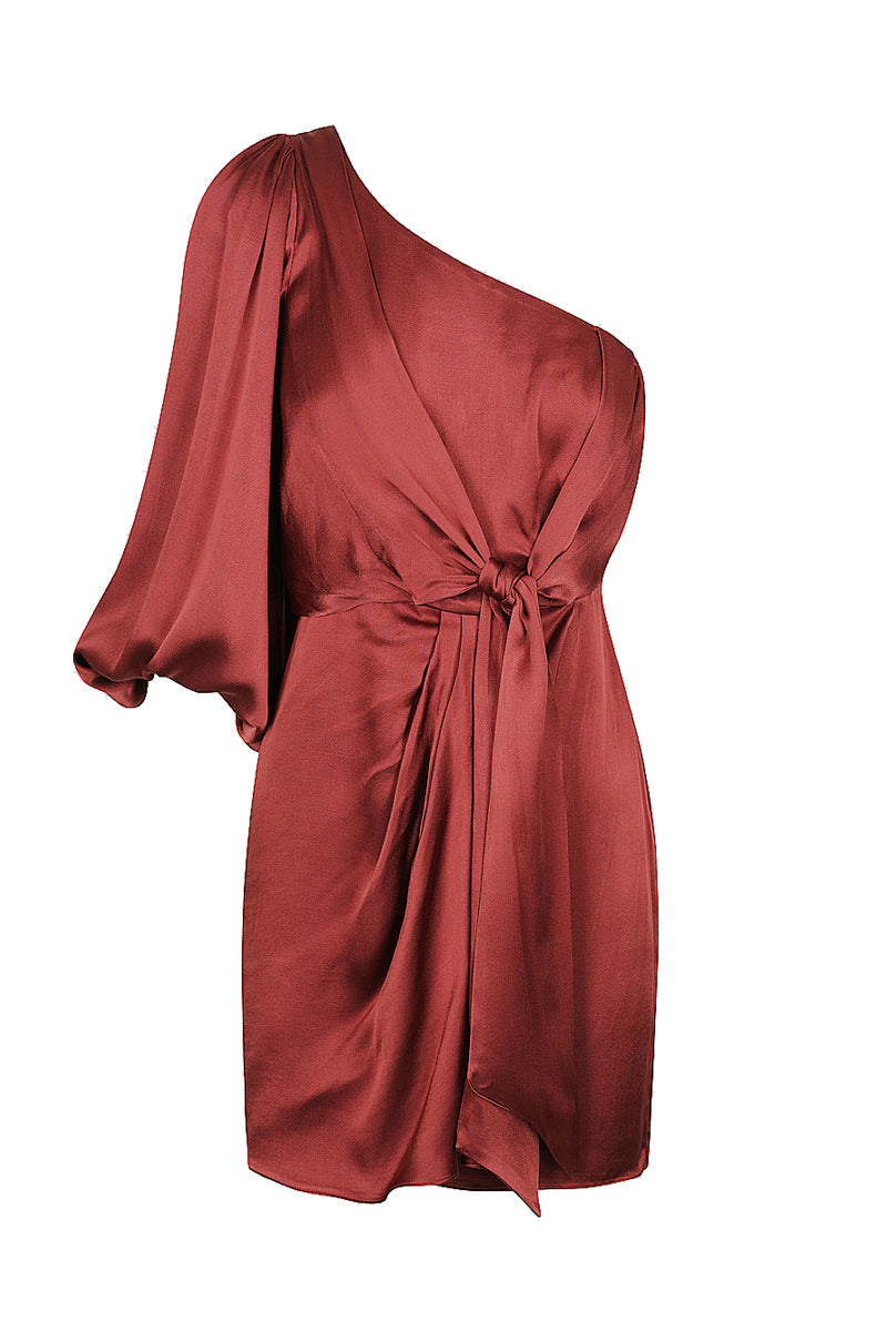Shona Joy JOAN ONE SHOULDER MINI DRESS - RUBY