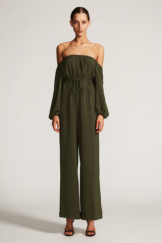 CORE OFF THE SHOULDER JUMPSUIT - KHAKI