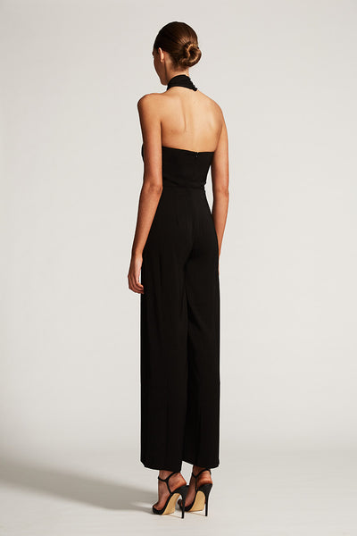 CORE KNOT DRAPED JUMPSUIT - BLACK