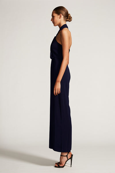 CORE KNOT DRAPED JUMPSUIT - NAVY