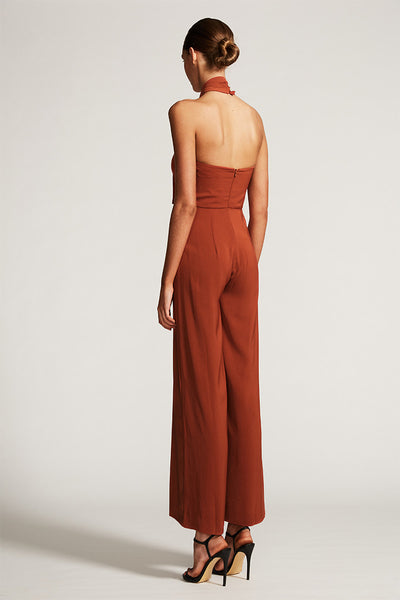 CORE KNOT DRAPED JUMPSUIT - RUST