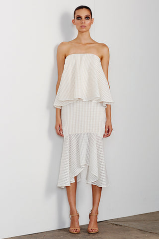 LUCIA LAYERED DRESS WITH FRILL - WHITE