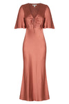 LA LUNE FLUTTER SLEEVE MIDI DRESS - TERRACOTTA