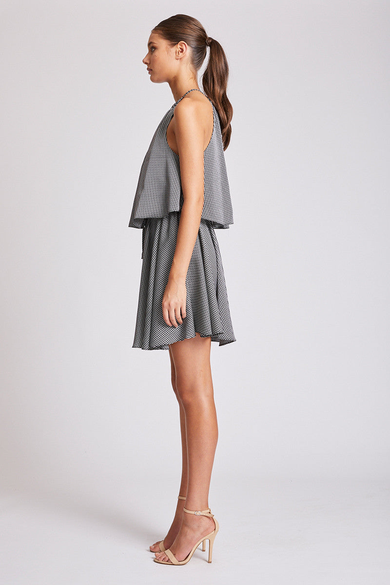 MIRAGE LAYERED DRAWSTRING MINI DRESS
