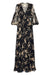 MONTEREY SHIRRED LACE UP MAXI DRESS - BLACK/WHEAT