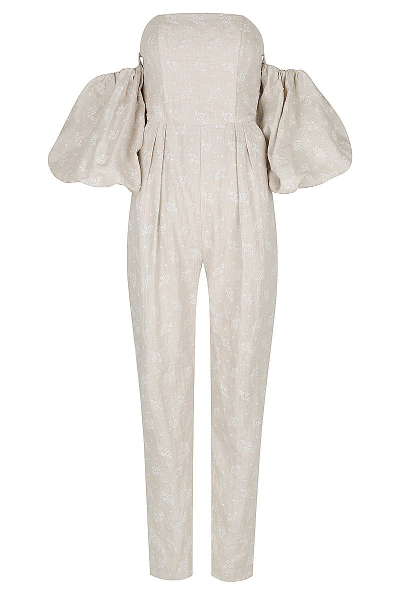 Shona Joy MARGOT EMBROIDERED LINEN BUSTIER JUMPSUIT