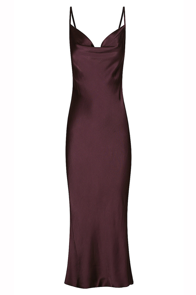 MORRISON BIAS COWL MIDI DRESS - MULBERRY