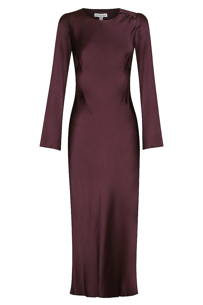 MORRISON L/S BIAS MIDI DRESS - MULBERRY