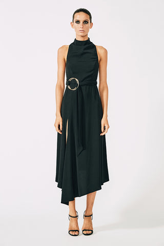 VOLTAIRE HIGH NECK MIDI DRESS WITH RINGS - BLACK