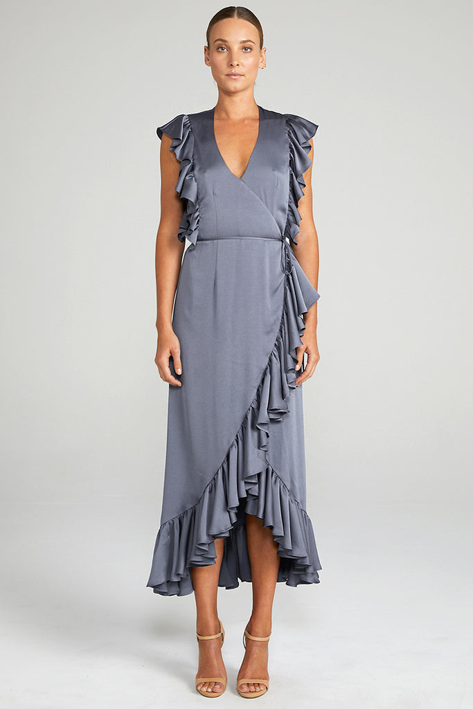 ANNA RUFFLE WRAP DRESS - CHARCOAL
