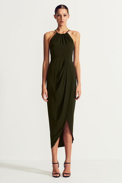 CORE HIGH NECK RUCHED DRESS - DEEP OLIVE