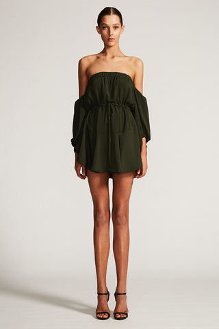 CORE OFF THE SHOULDER MINI DRESS - DEEP OLIVE