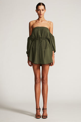 CORE OFF THE SHOULDER MINI DRESS - KHAKI