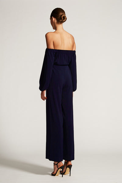 CORE OFF THE SHOULDER JUMPSUIT - NAVY