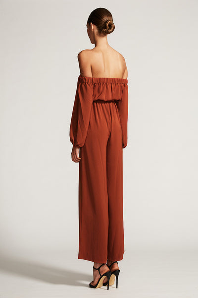 CORE OFF THE SHOULDER JUMPSUIT - RUST