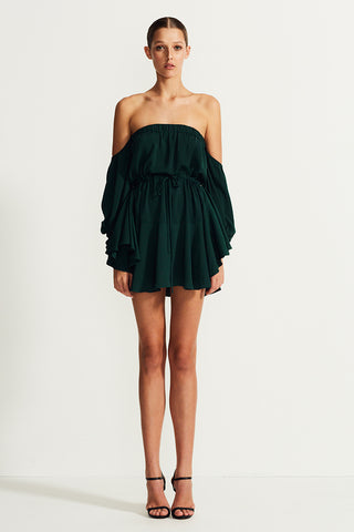 CORE OFF THE SHOULDER MINI DRESS - SEAWEED
